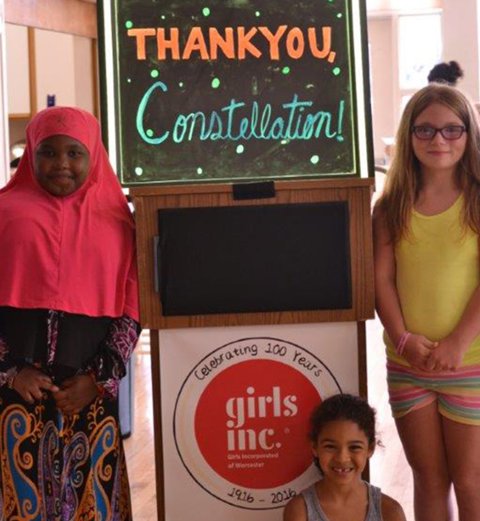 """Girls Inc. of Worcester in in Massachusetts with a """"Thank you Constellation"""" sign."""