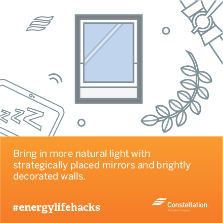 energy saving tip - bring in natural light with mirrors and paint