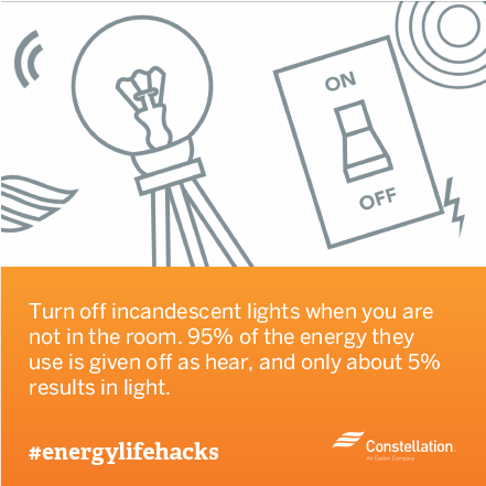 energy saving tip - turn off lights when not in the room