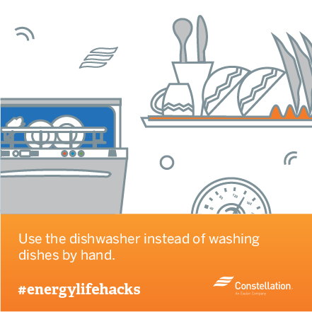 energy saving tip - use dishwasher instead of hand washing