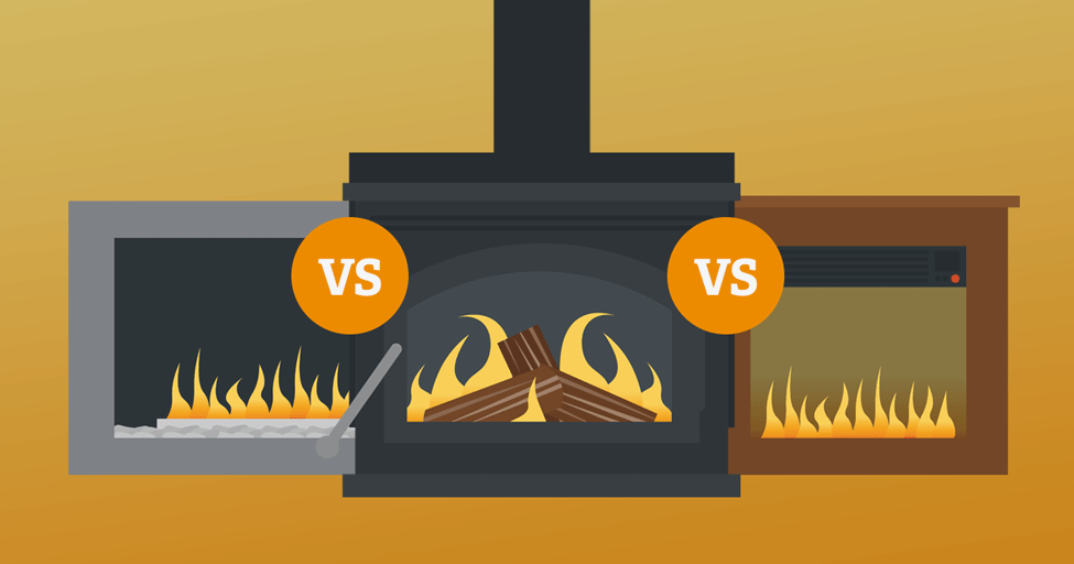 which is more energy efficient gas vs wood burning fireplaces vs