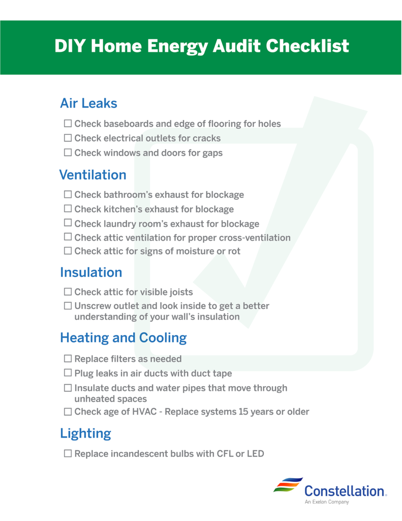 DIY Home Energy Audit Checklist to print out