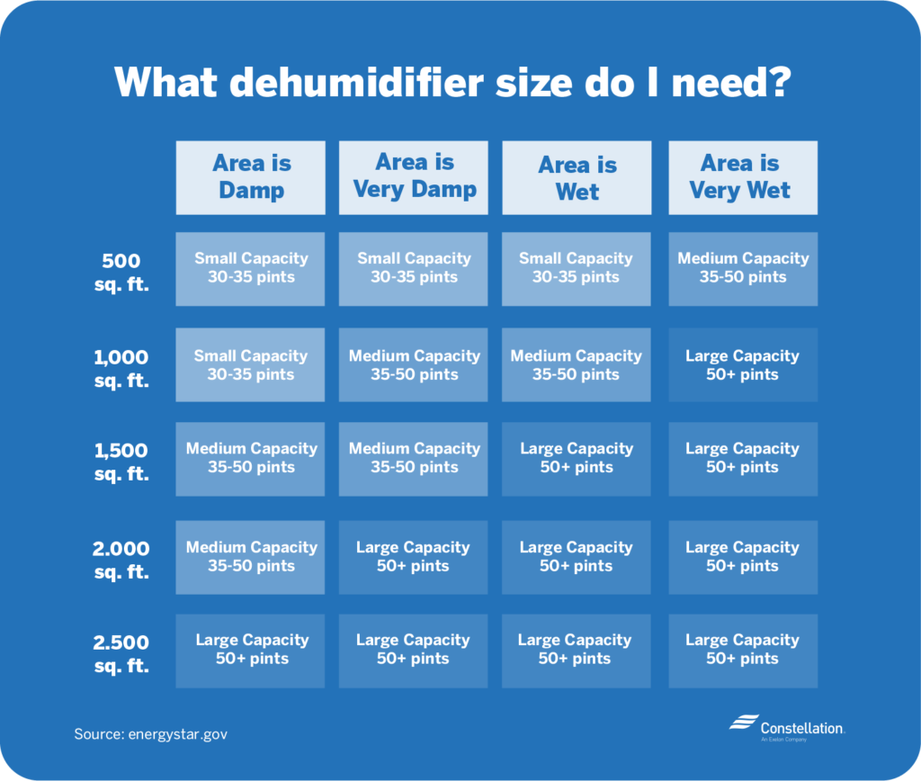 dehumidifier sizing should depend on how damp and the square footage of the room you are dehumidifying.