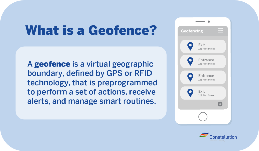 A geofence is a virtual boundary defined by GPS or RFID technology that is set to perform actions, send alerts, or mange smart routines once triggered.