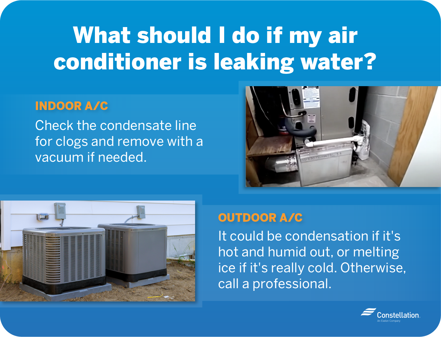 What should I do if my air conditioner is leaking water?