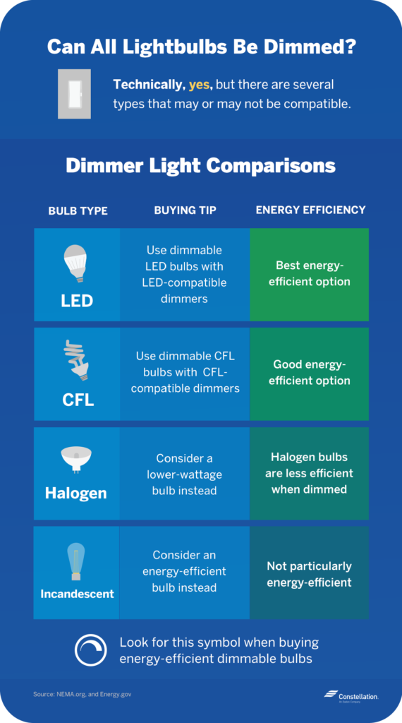 All light bulbs can technically be dimmed, although it varies depending on bulb type.