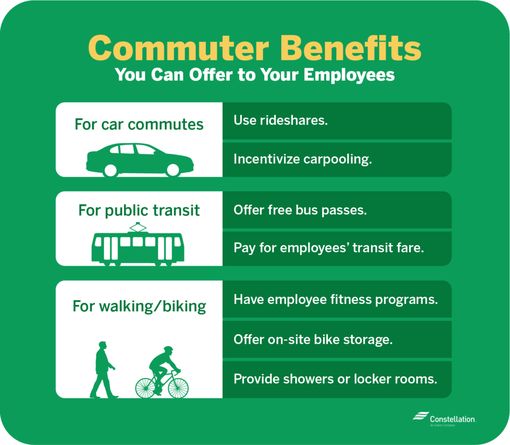Commuter benefits you can offer for employees include free passes, rideshares, or fitness programs.