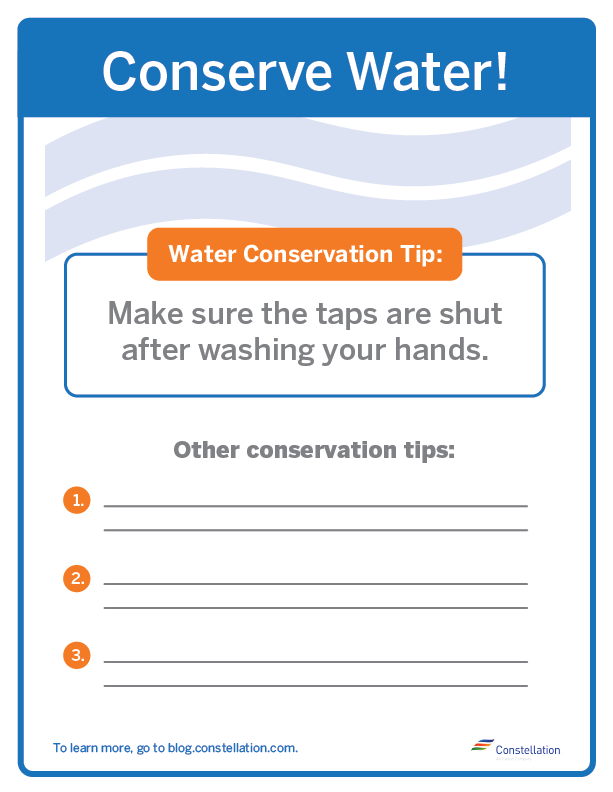 water conservation signs at work