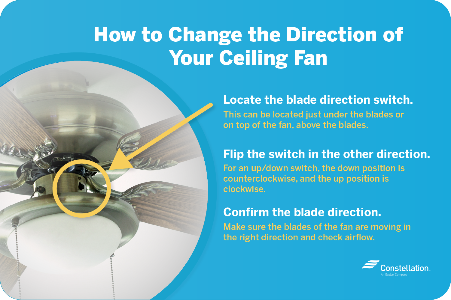 how to change ceiling fan direction