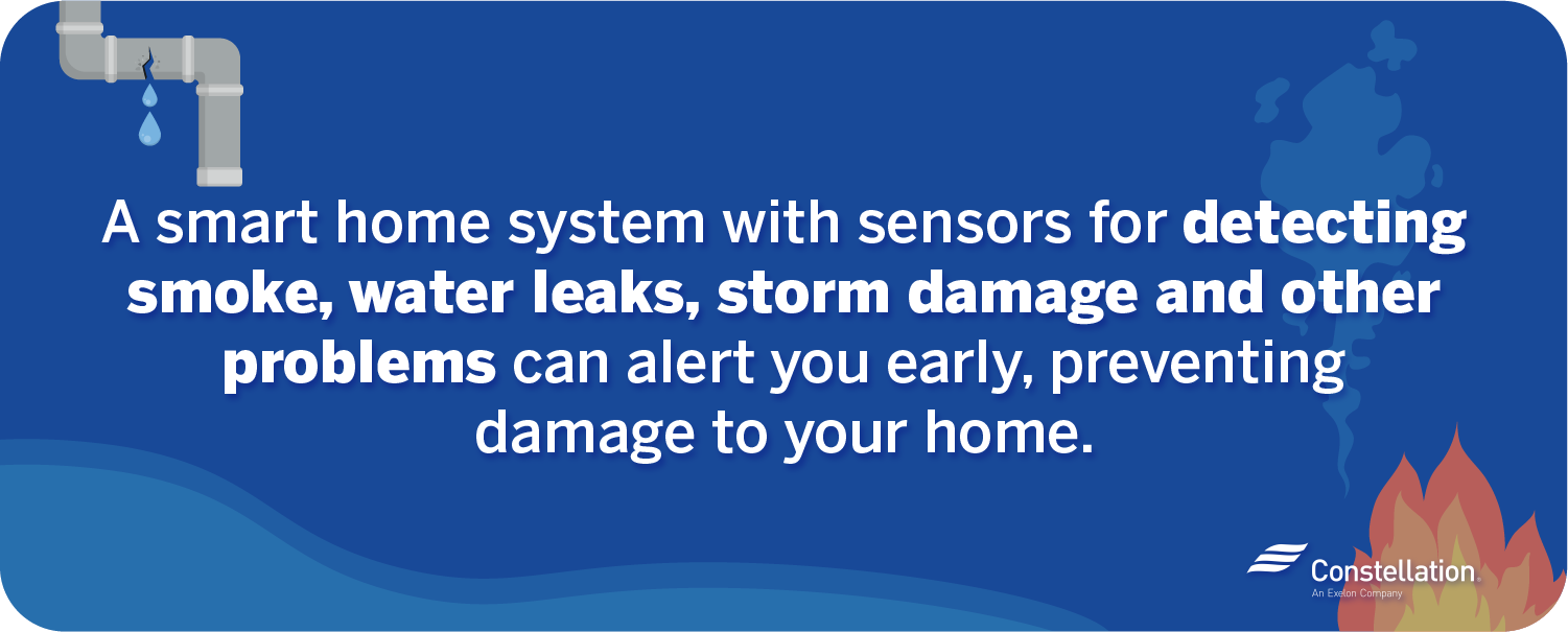 Smart home sensors detect smoke, water leaks, storm damage and other problems