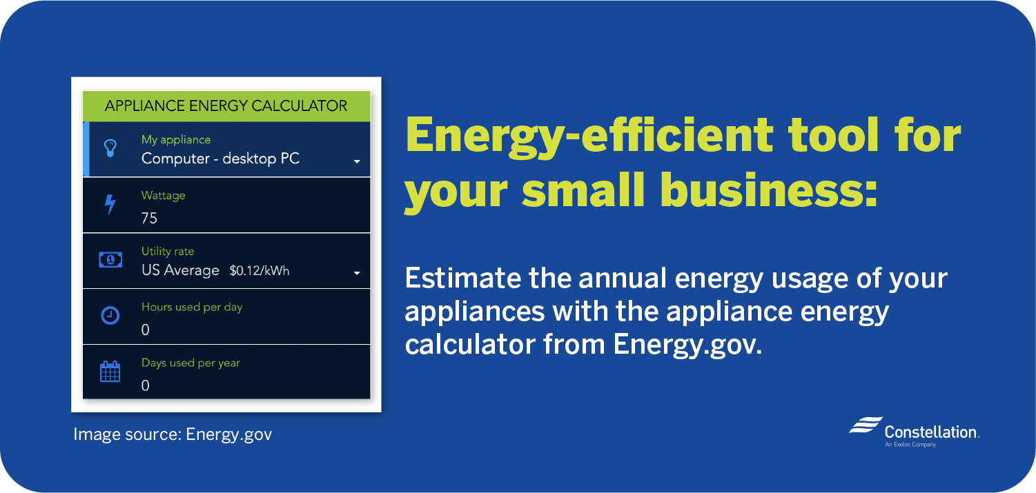 Energy.gov appliance energy calculator