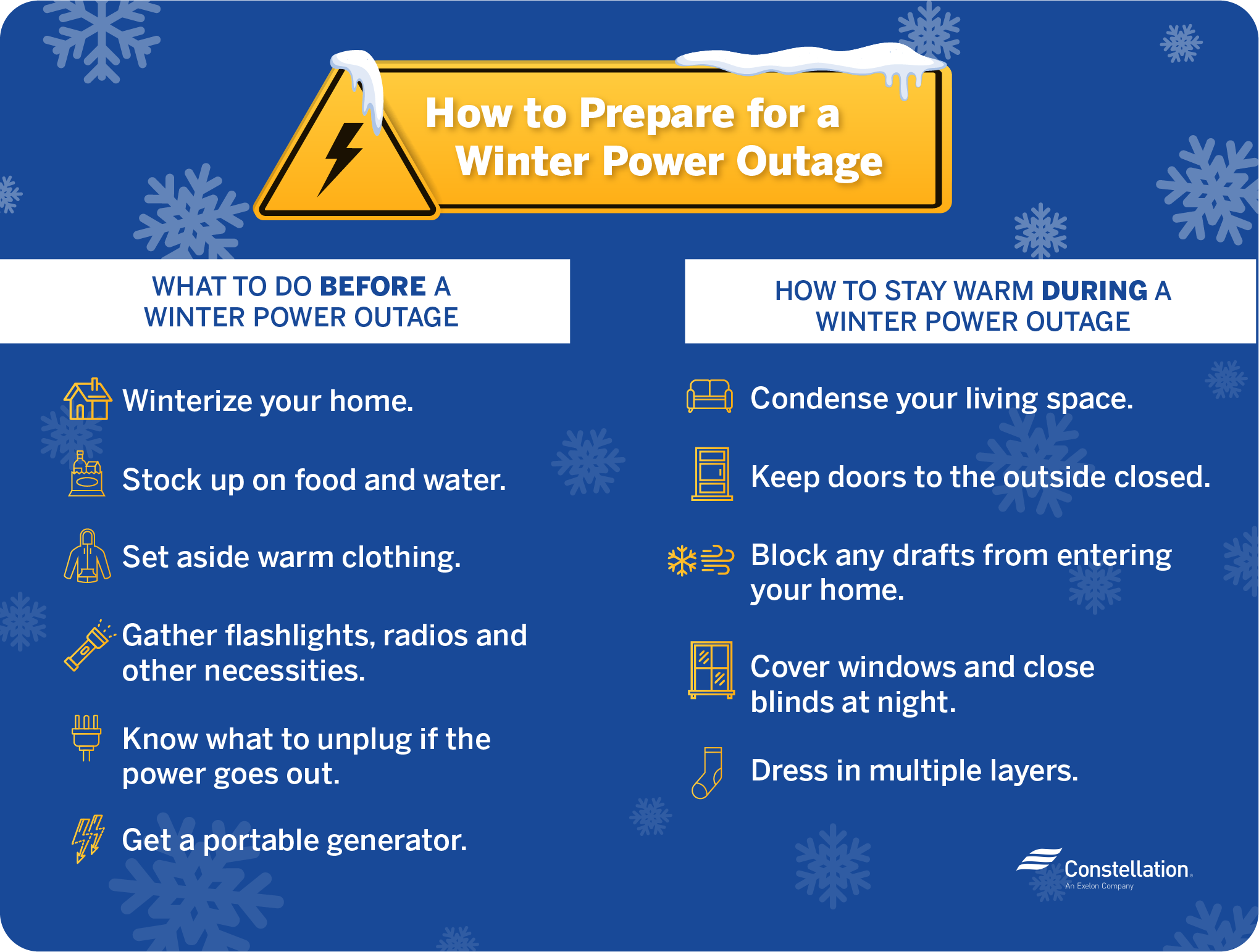 how to prepare for a winter power outage